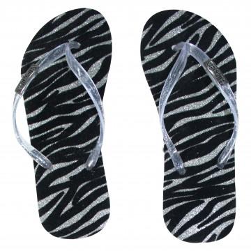 Chinelo Flocado Zebra Prata Com Tira Prateada Brilhante